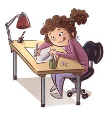chica en mesa dibujando