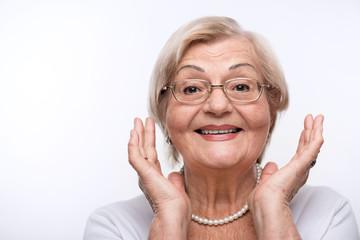 Elderly lady is happy