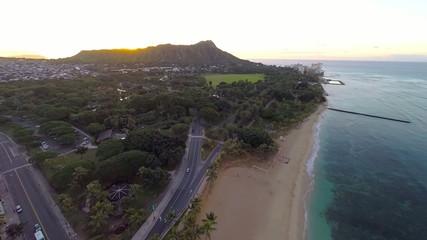 Aerial to Diamond Head from Waikiki Beach in Waikiki, Hawaii