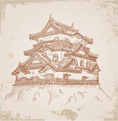 Japanese Castle sketch on old paper