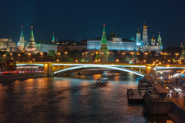 Evening in Moscow. Night view of the Kremlin and bridge