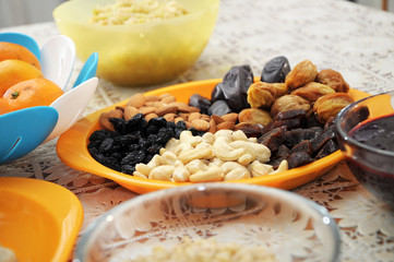 dried fruits and nuts on plate