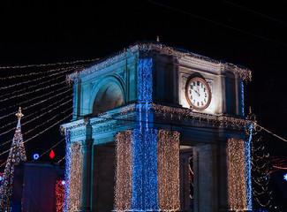 Triumphal Arch in Chisinau, Moldova. x-mas