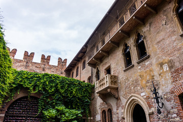 The famous balcony of Romeo and Juliet in Verona, Italy . Juliet