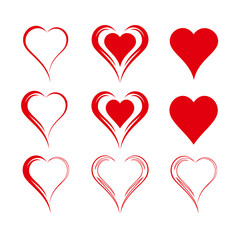 Set of nine simple isolated vector hearts