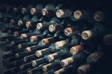 vineyard cellar with old bottles.  Wine bottles from cellar