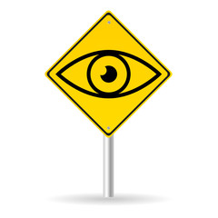 traffic sign with eye vector
