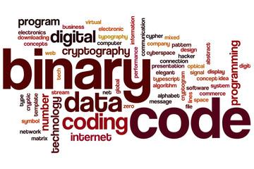 Binary code word cloud