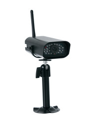 Wireless surveillance black camera isolated on white background