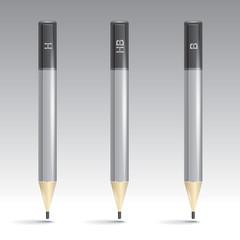 Three vector grey pencil color, vector design icons