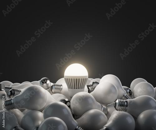 Leinwanddruck Bild led white lightbulb