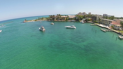 Coastal inlet in FLorida 360 degree aerial view