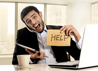 businessman in stress holding help sign multitasking
