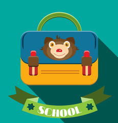 Blue, yellow schoolbag with bear and text school