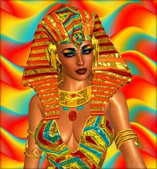 Egyptian digital art, Cleopatra,gold and orange