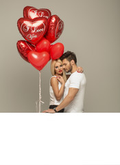 Valentines photo of loving couple with white board
