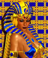 Cleopatra, Egyptian digital art, colorful background