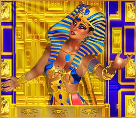 Egyptian sun god ra and Cleopatra, digital art