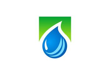 water drop liquid ecology logo