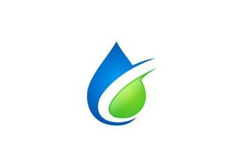 water drop eco vector logo