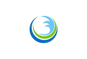water wave ecology abstract vector logo