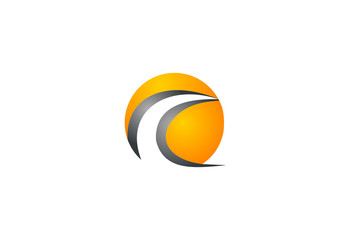 wave sphere in circle vector logo