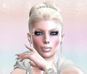 Head shot, beautiful blonde, digital art