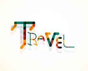 Travel word font concept