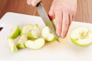 cutting fresh apples