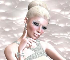 Head shot, digital fashion blonde model with snow cosmetics