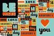 Happy Valentines Day retro vintage pattern