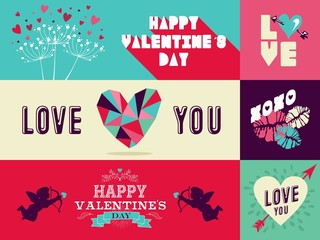 Happy Valentines Day web banner set