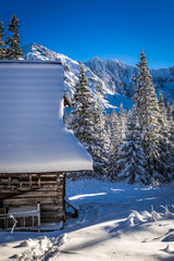 Wooden chalet in winter mountains