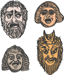 Classical ancient Greek drama masks