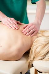 Close-up of spine massage