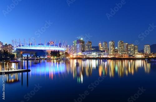 Deurstickers Canada Vancouver City skyline at night, Vancouver, BC