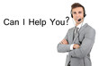 Call center operator and Can I help you? text, isolated on