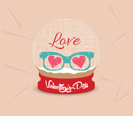 happy valentines day with glasses heart globe