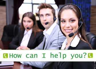 Call center operators and How can I help you? text