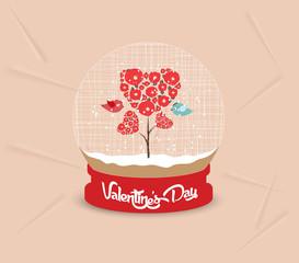 happy valentines day with couple tree heart globe