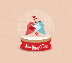 happy valentines day with couple bird heart globe