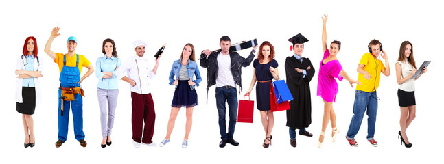People of different professions and occupations in collage