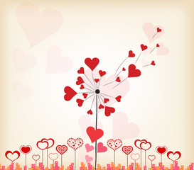 dandelions hearts valentines day background