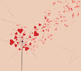 dandelions hearts and music valentines romantic background