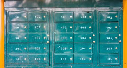 Green outdoor metal lockers