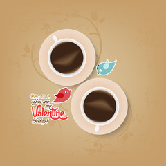 couple cup of coffee with valentines day