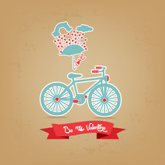 be my valentine romantic with umbrella and bicycle