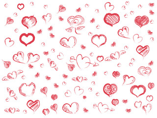 doodle red hearts seamless pattern background