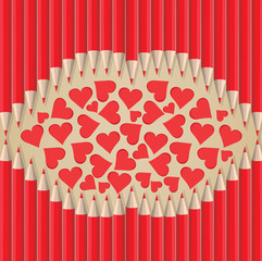 lips heart shape out of pencils valentines day