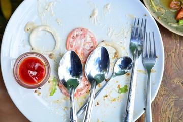 The Dish of Vegetable salad after together Eat.